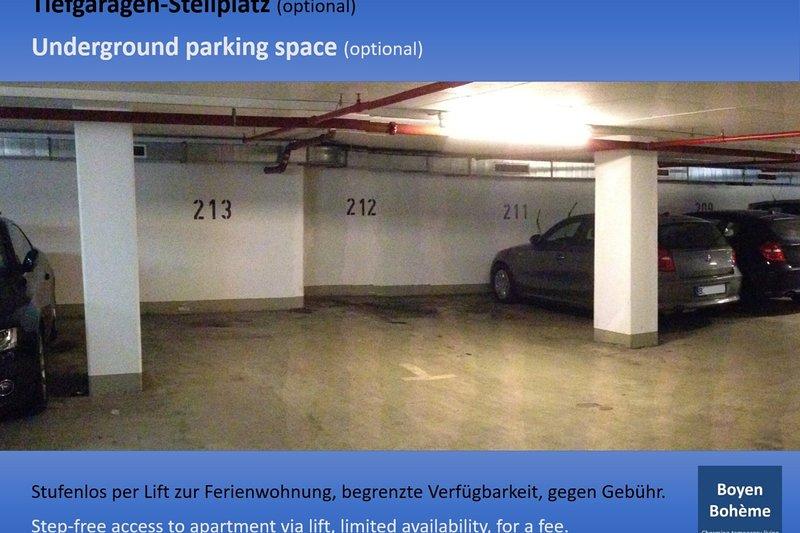 In base alla disponibilità: parcheggio sotterraneo gratuito.