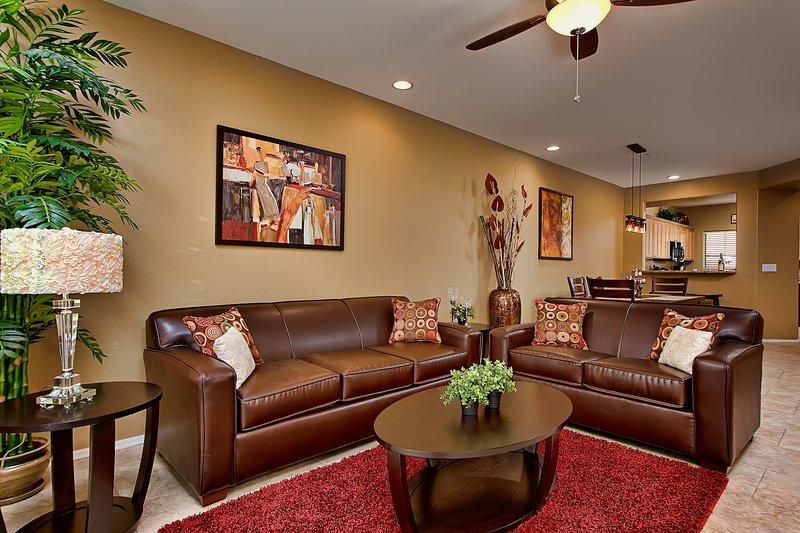 Spacious living room with comfortable sleeper sofa.