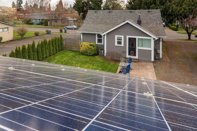 Solar array on Garage and back yard patio