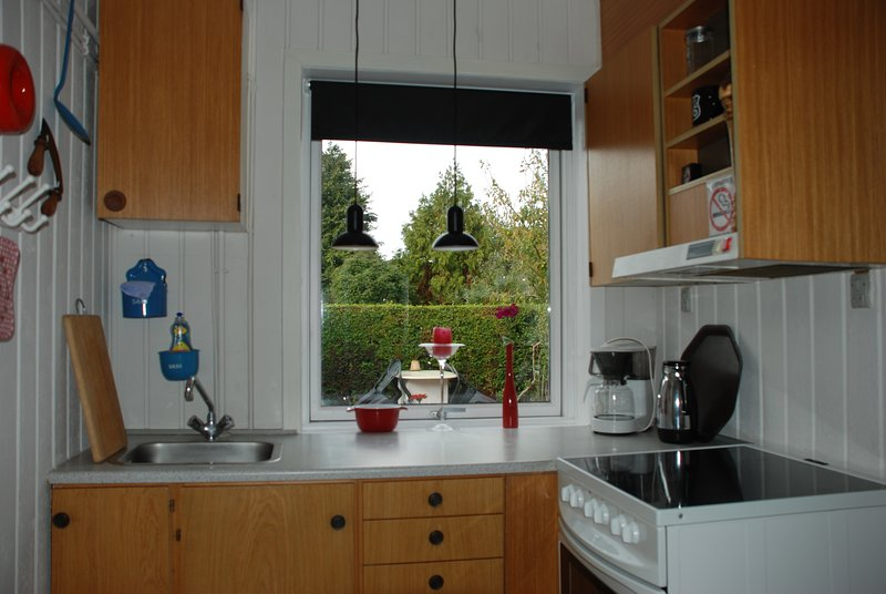 Kitchen with electric cooker, large fridge and freezer and everything you need to cook.