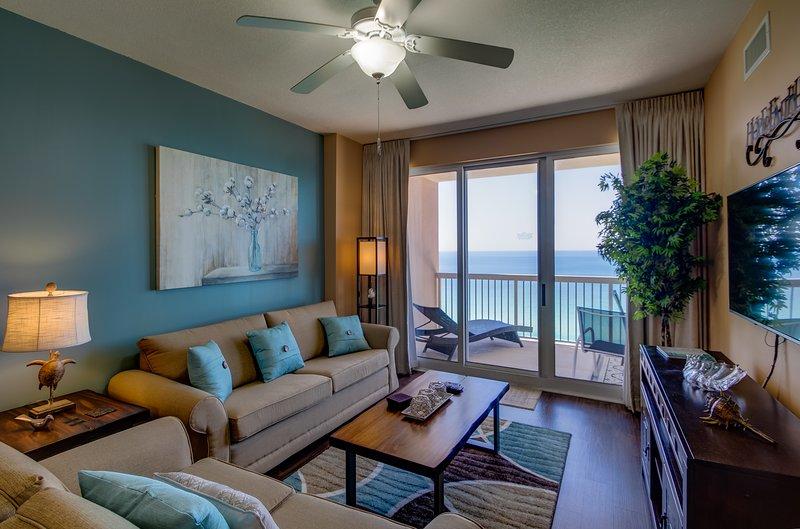 Living Room w/Beachfront Balcony