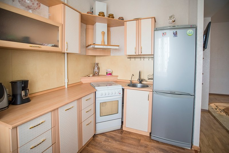 Kitchen has all you need including microwave