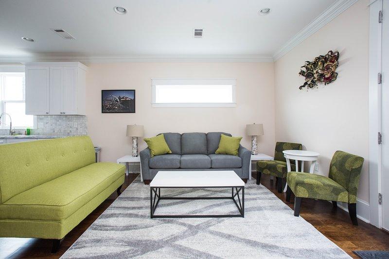 Living room. Queen sleeper sofa. Ground floor.
