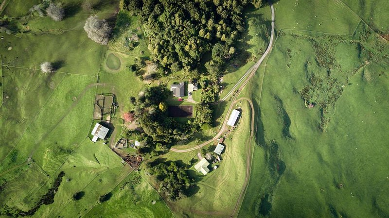 Aerial view of our house and gardens and Anderson Cottage