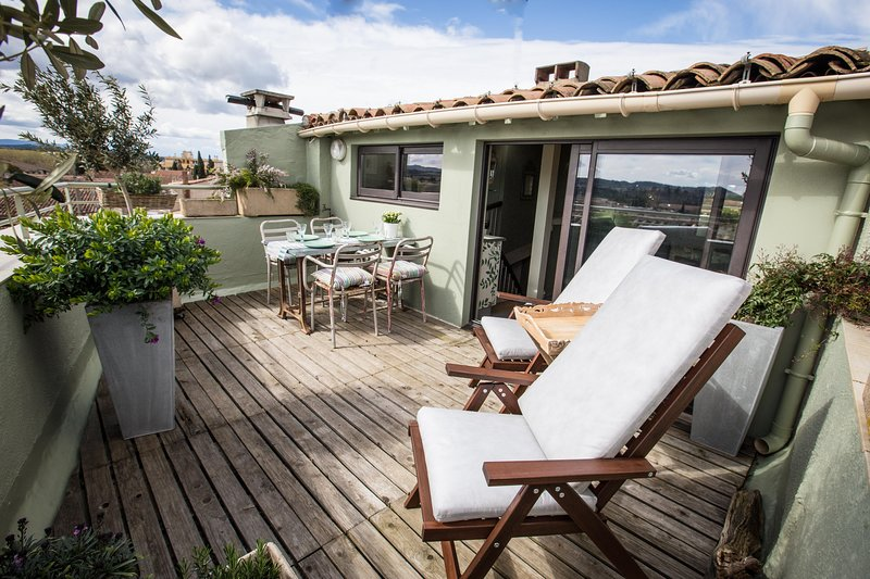 The rooftop terrace with fantastic views of the medieval cite and surrounding area