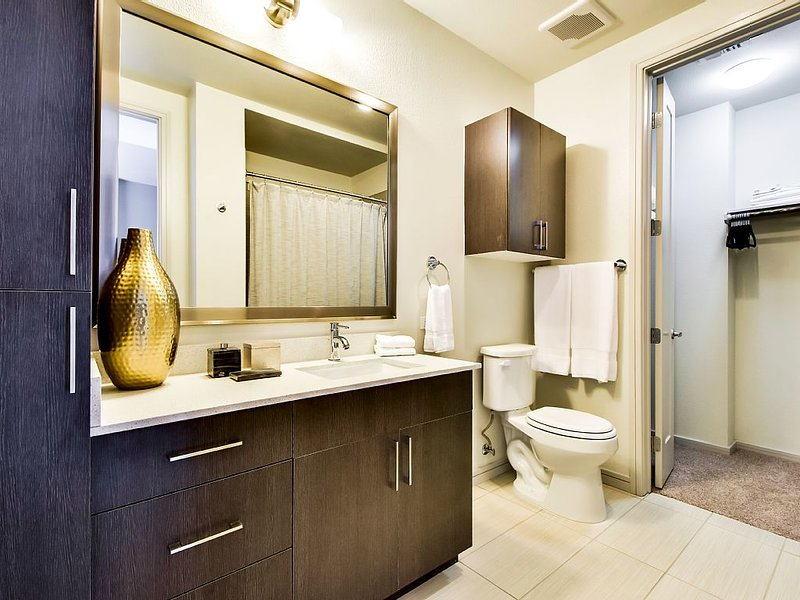 The bathroom has a large walk-in closet.