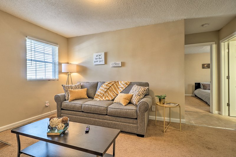 After a day exploring the city, take a load off in the comfortable living room.