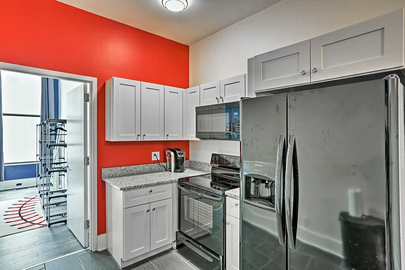 With state-of-the-art appliances, the kitchen makes cooking fun and easy.