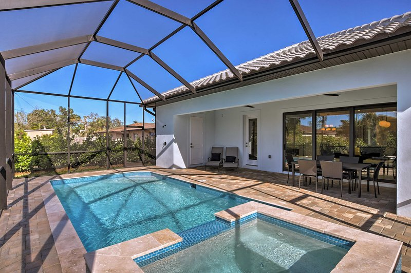 Explore Naples from this modern 3-bedroom, 4-bath vacation rental with a pool!