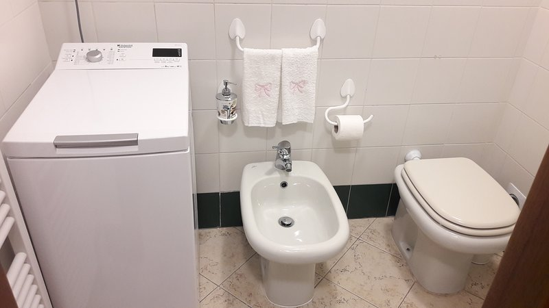 Banho com chuveiro de lavagem e máquina