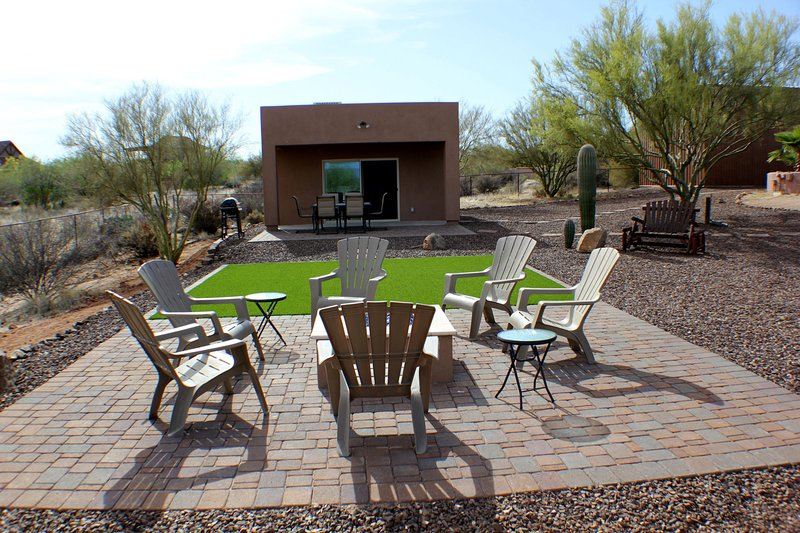 The Casita has a Fire pit, grass with corn hole, patio with seating & BBQ.