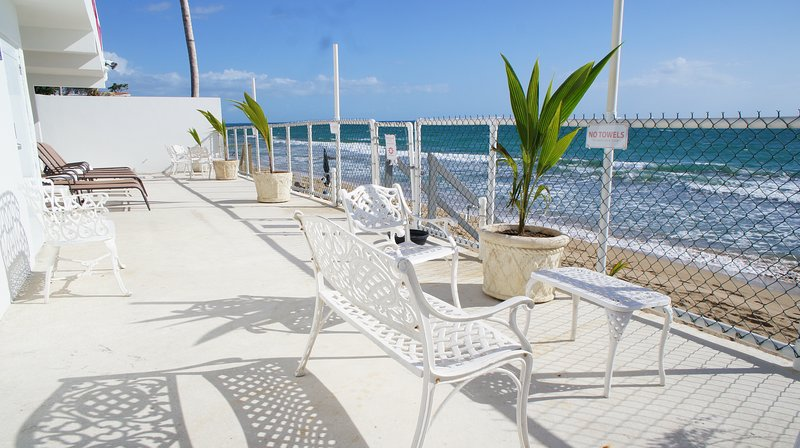 Beachfront patio April 2018