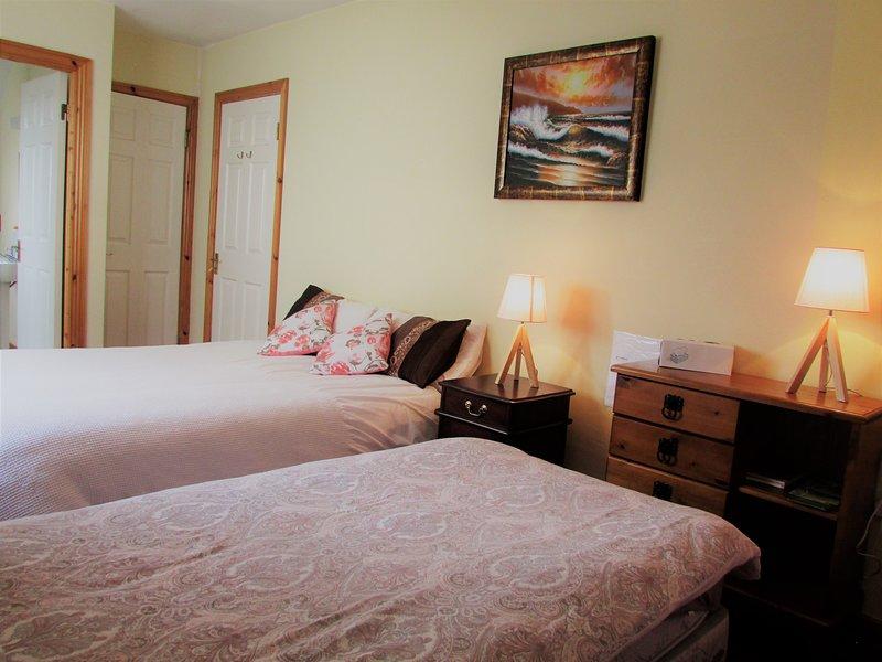 Chambre privée avec une salle de bain - lit double et deux lits simples. Capacité d'accueil jusqu'à 4