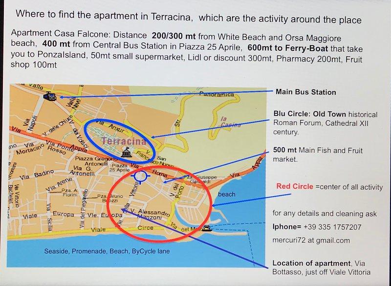 Kaart van het appartement in het centrum van Terracina