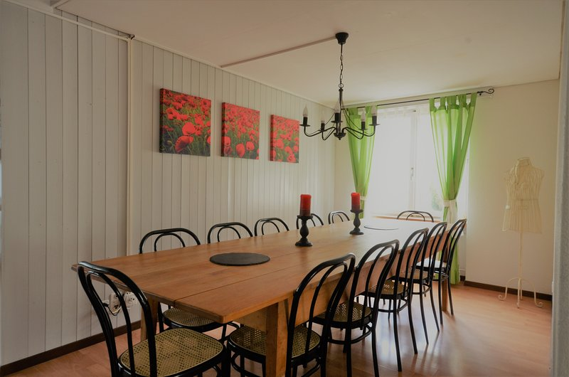 Dining room table. Comfortable seating for 12