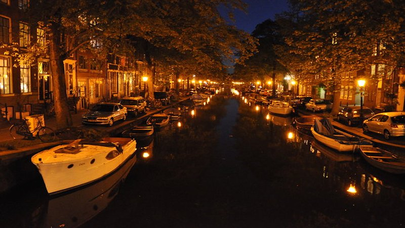 One of the beautiful canals by night