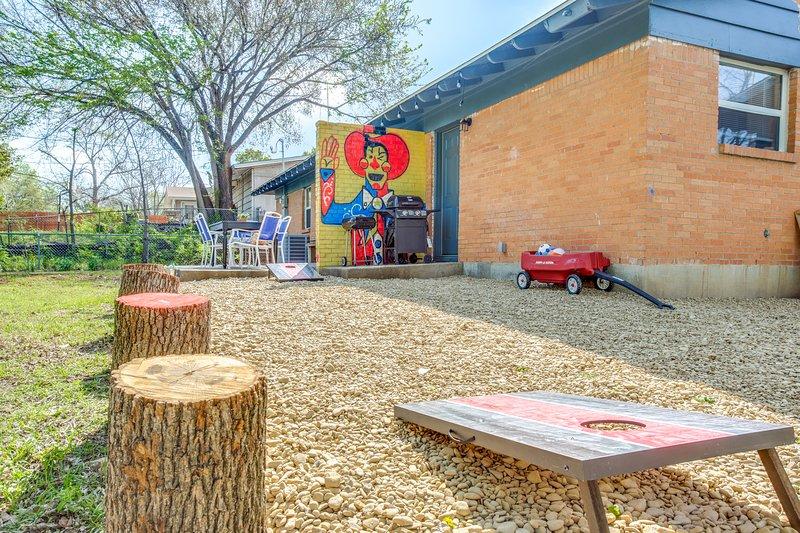 Backyard Game Area w / Big Tex Mural #BIGTEXINCOWTOWN