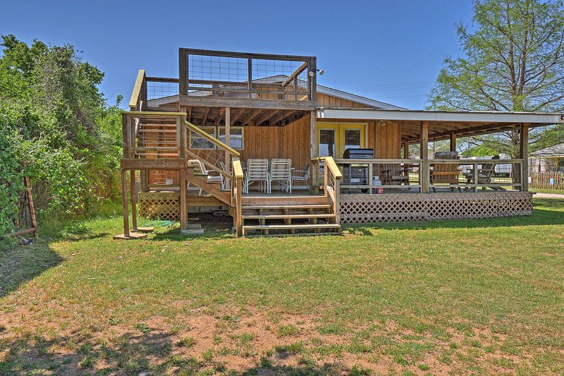 This waterfront home on Buchanan Dam is perfect for 12.