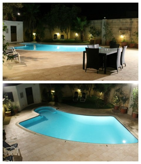 Pool area with large dining area, sunbeds, deck-chairs, BBQ and massive outdoor space.
