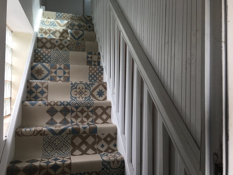 New carpet on the stairs.