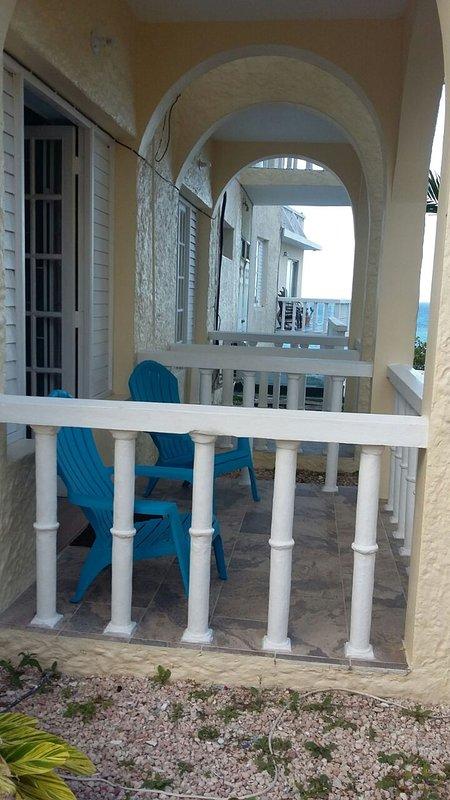 vista desde la parte posterior del apartamento, patios dobles
