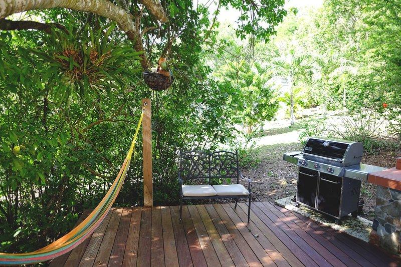 ponte ombreggiato con amaca e cucina esterna con barbecue e lavello