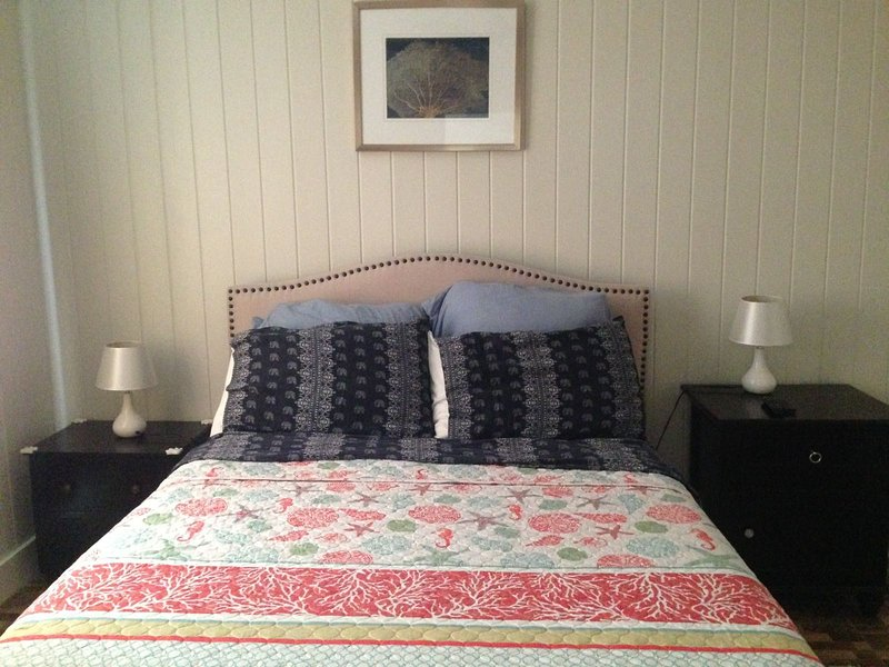 Comfortable queen sized bed in the master's bedroom