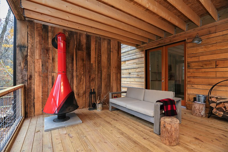 New rustic modern cabin with huge porch and cone fireplace