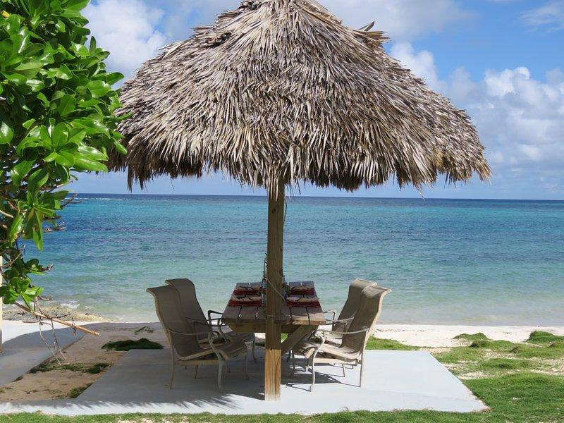 Lounge area between  beach houses.