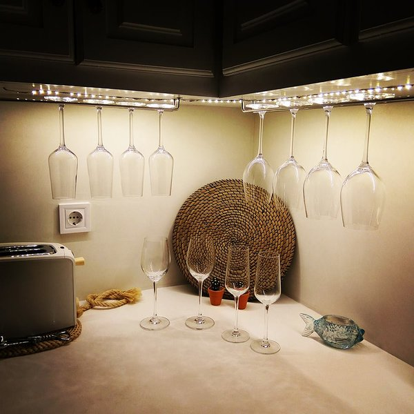 Detail of kitchen. Enjoy your wine tasting at home!