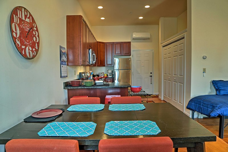 Enjoy a family meal around the 4-person dining table.