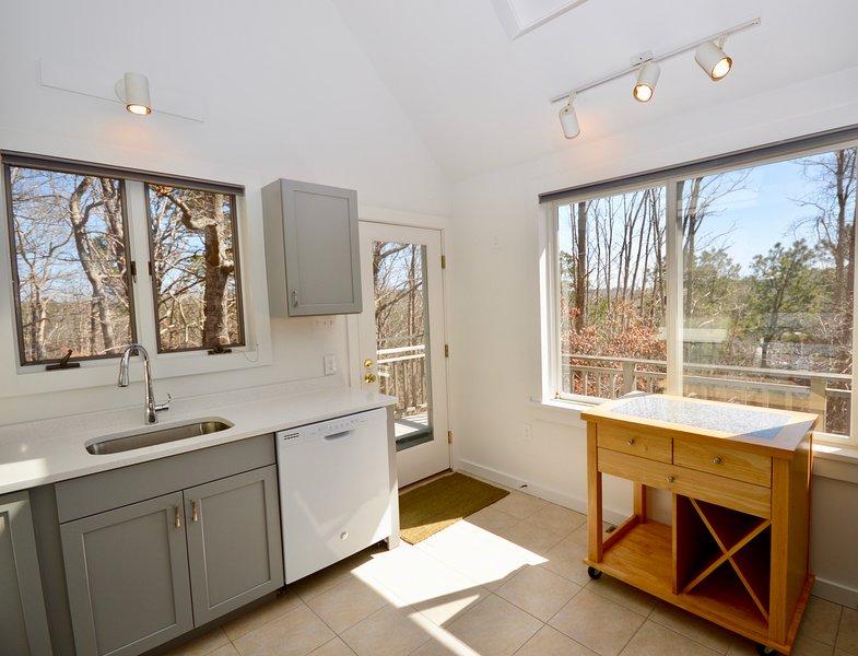 Open kitchen with door to back deck area