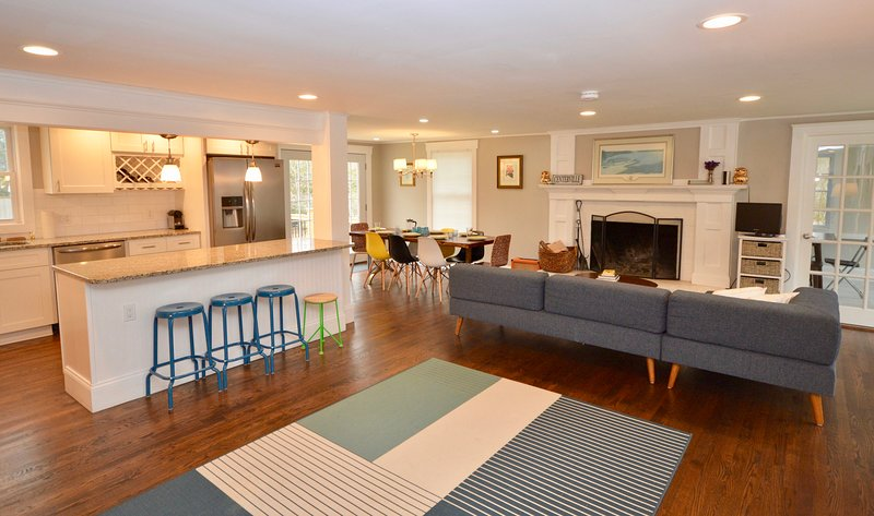 Gorgeous updated and open kitchen, dining and living room