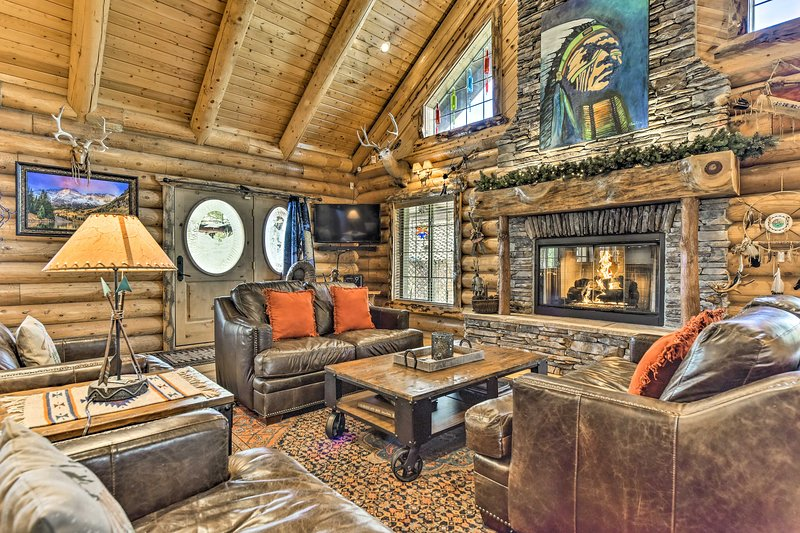 This 3-bedroom, 3-bathroom home boasts rustic charm.