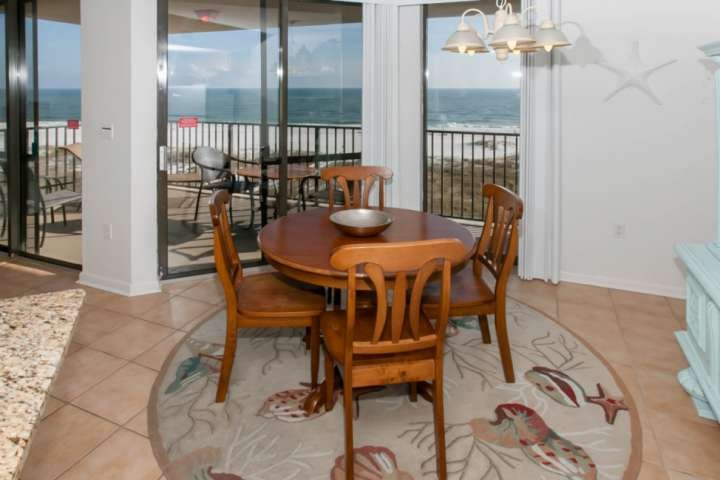 Dining area overlooking Gulf-front patio