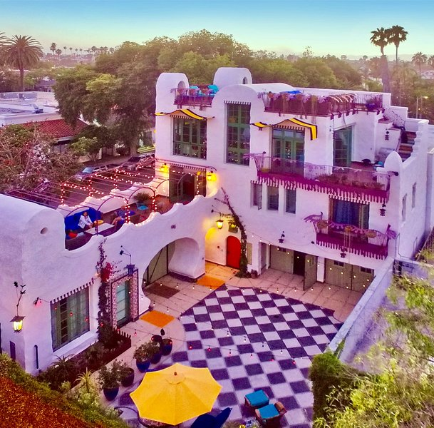 Arial view of the private courtyard, rooftop decks and three floors of El Zapato.
