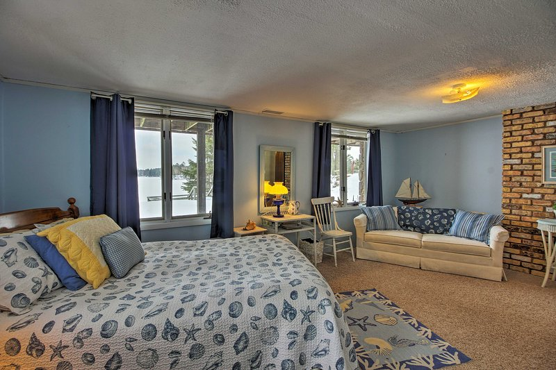 Admire views of Pig Lake while laying in bed!