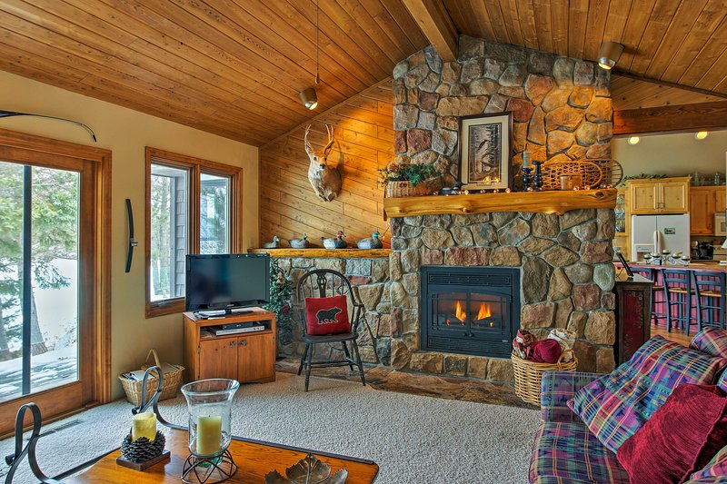 Settle in for a movie night while the fireplace warms you up!