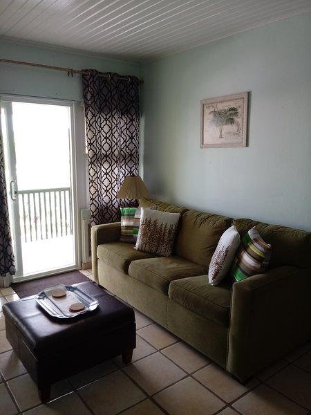 Reina sofá cama situado en la sala de estar