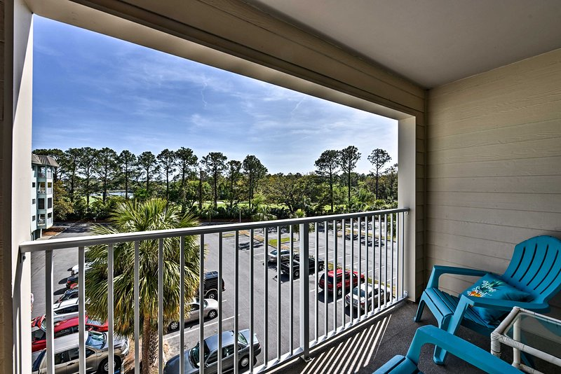 This 2-bed, 2-bath unit sleeps 6 and sits just 1/2 mile from the beach.