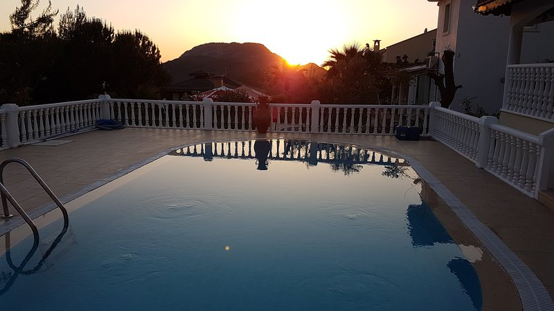 Stunning sunset view from the private pool