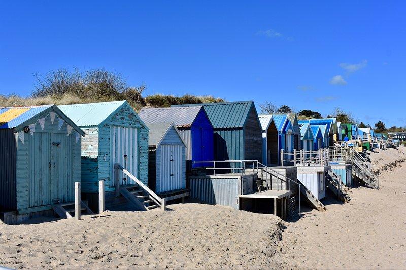 casetas de playa en la playa Abersoch.