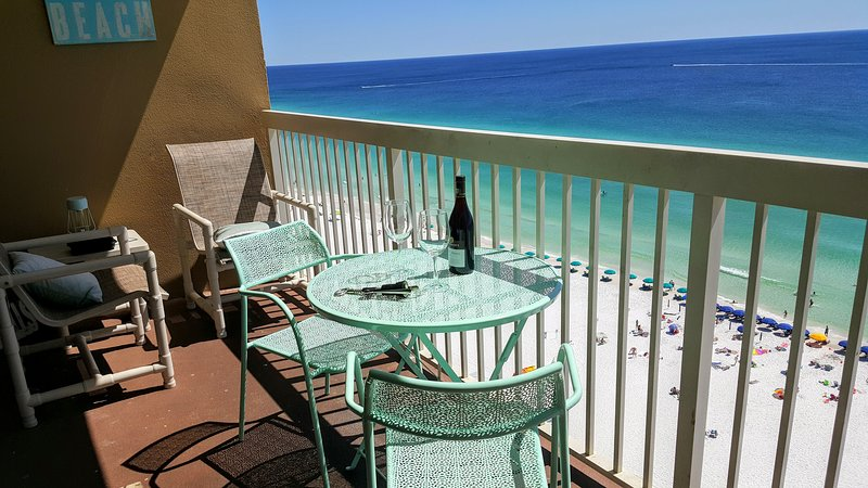 Direct views of turquoise water and sugary white sands from your private balcony