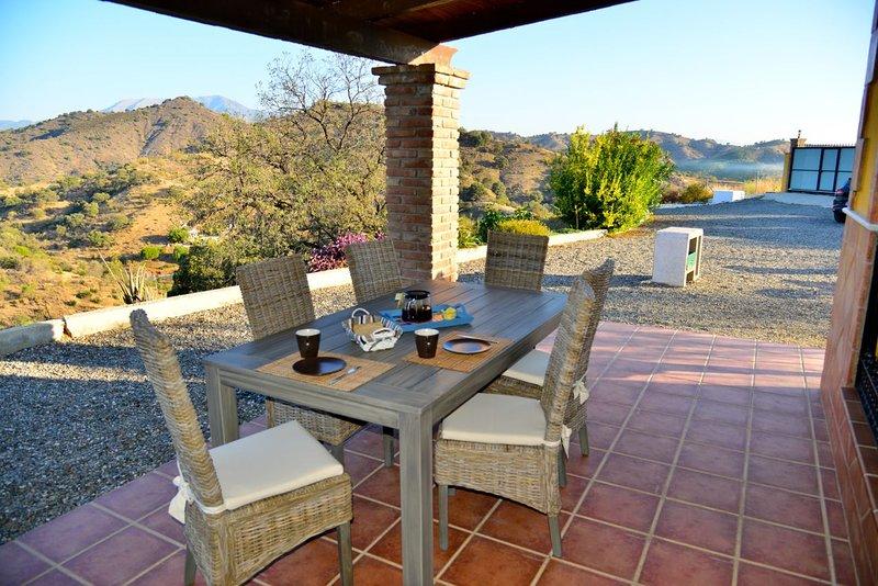 Breakfast on the terrace overlooking the Sierra