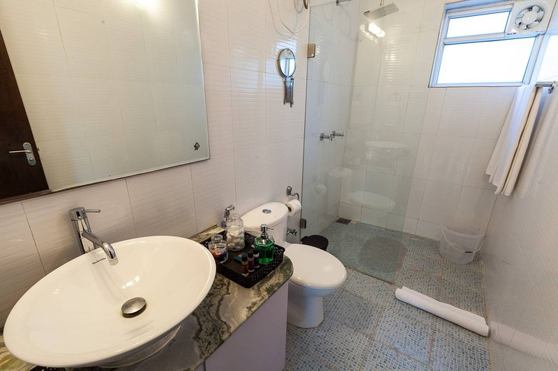 Washroom attached to the master bedroom on ground level with shower and free amenities