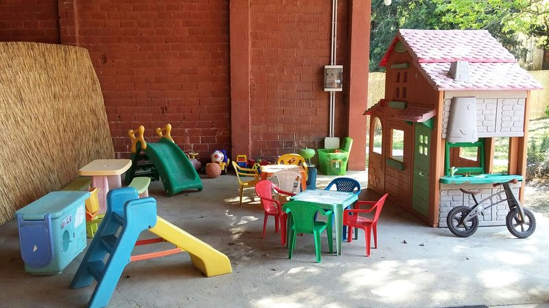 Children's play area outside.