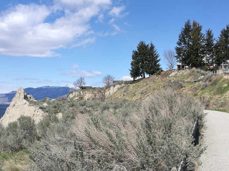 Go for walking, hiking, cycling at the Kettle Valley Trail from our KVR gate.