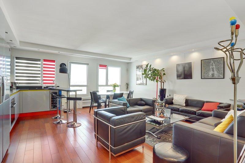 Onyx, 2 pièces avec vue panoramique 2 couchages : Lit 140 cm et canapé-lit 120cm, location de vacances à Ivry-sur-Seine