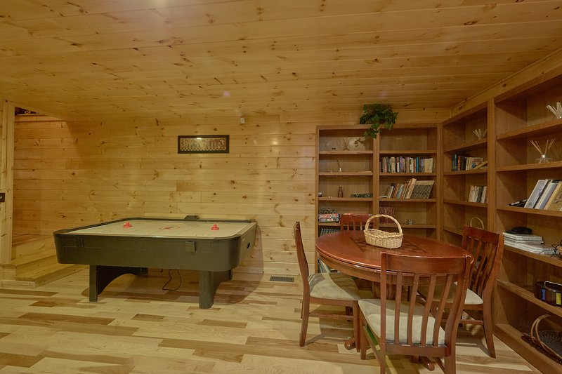 Game room has air hockey, chess, checkers and more