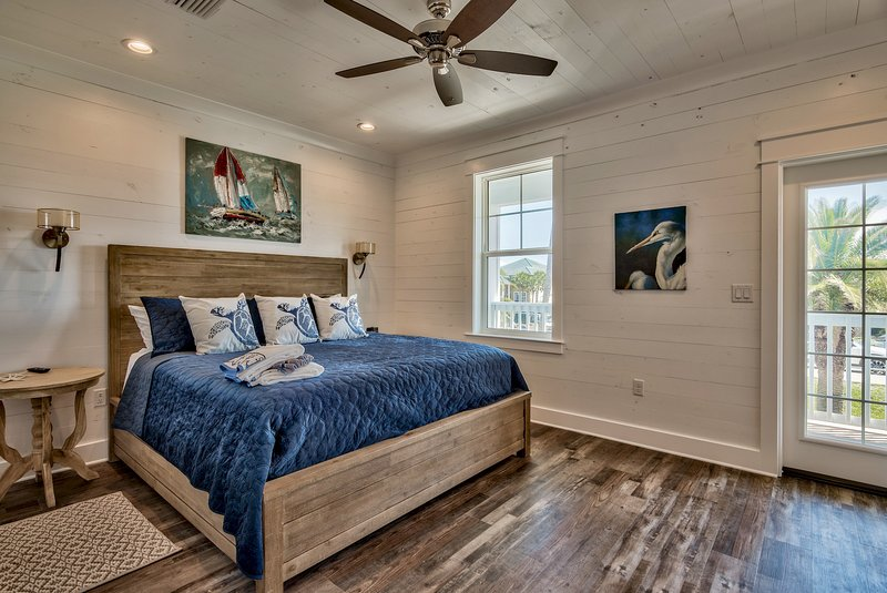 King bedroom #2, opens to balcony with views to beach, private bathroom